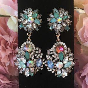 Jewelry - Blue and Crystal Rhinestones w/ Gold Drop Earrings